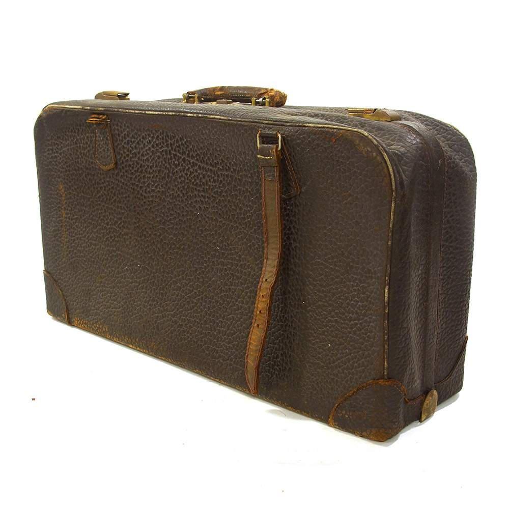 Vintage Walrus Skin Leather Suitcase Large