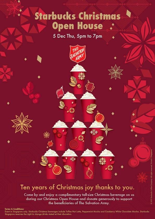 starbucks salvation army christmas open house 2013 free tall size beverage charity performances events great deals singapore