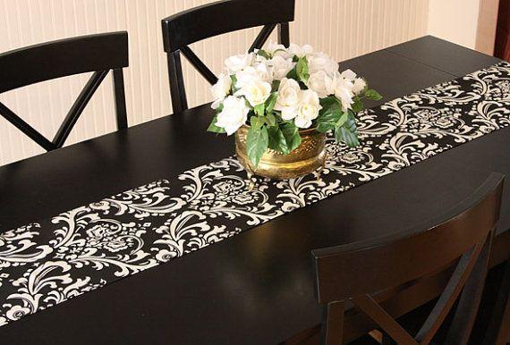 Black U0026 White Damask Table Runner   Buffet Server/Table Runner For Weddings  Or Home
