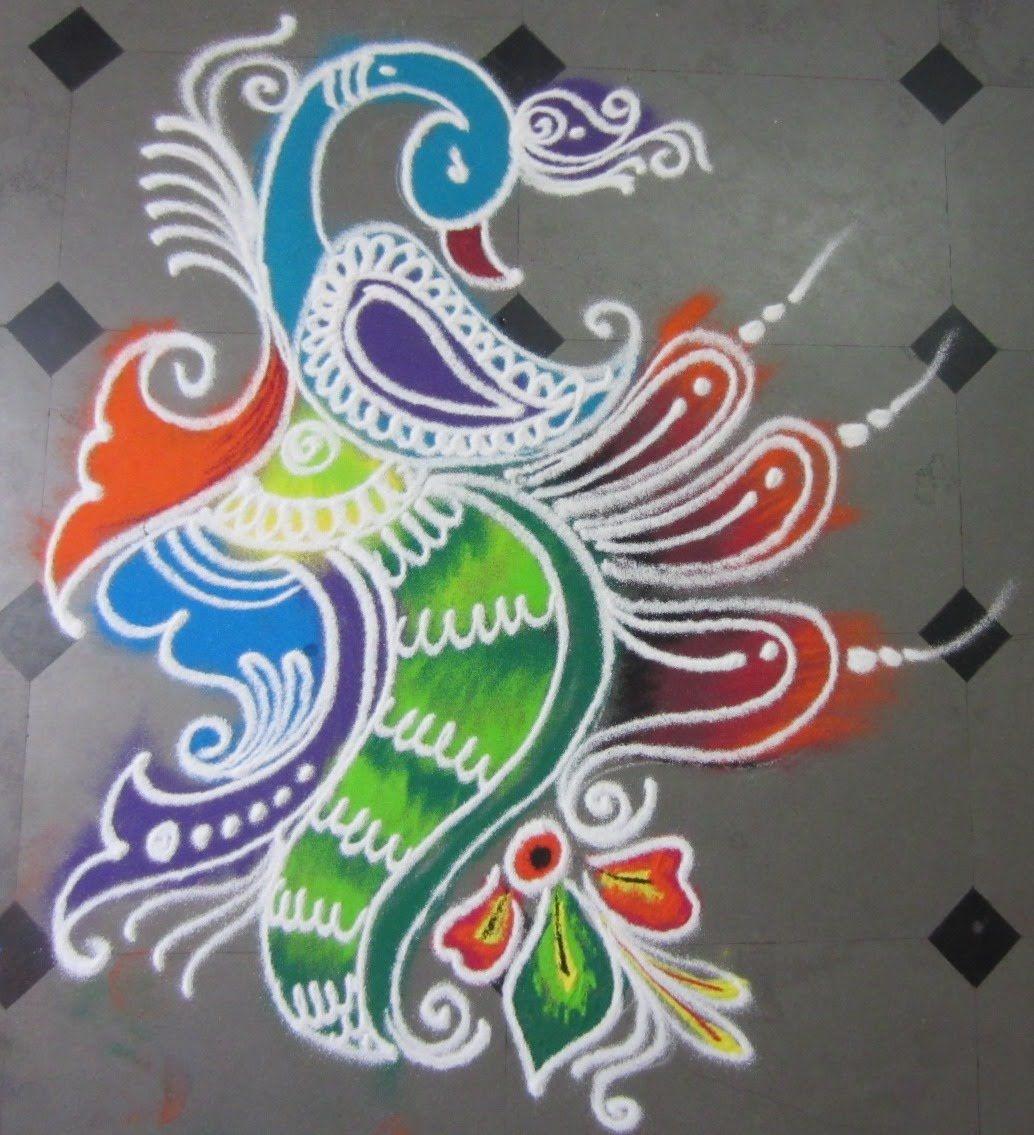 how to make rangoli with peacock Free hand rangoli