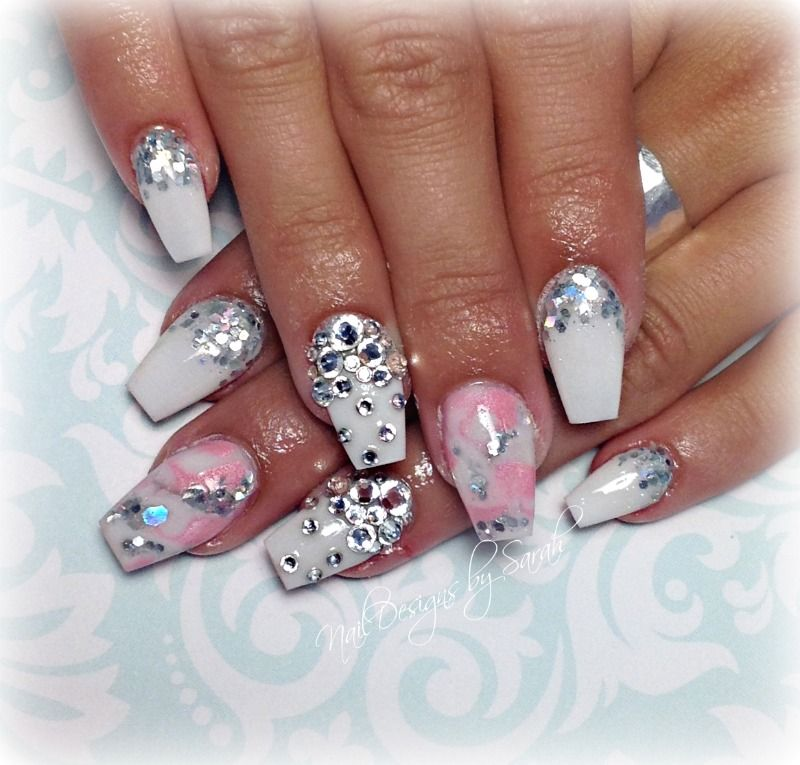 Girly Nail Art: Cute Girly Coffin Nails #coffinnails