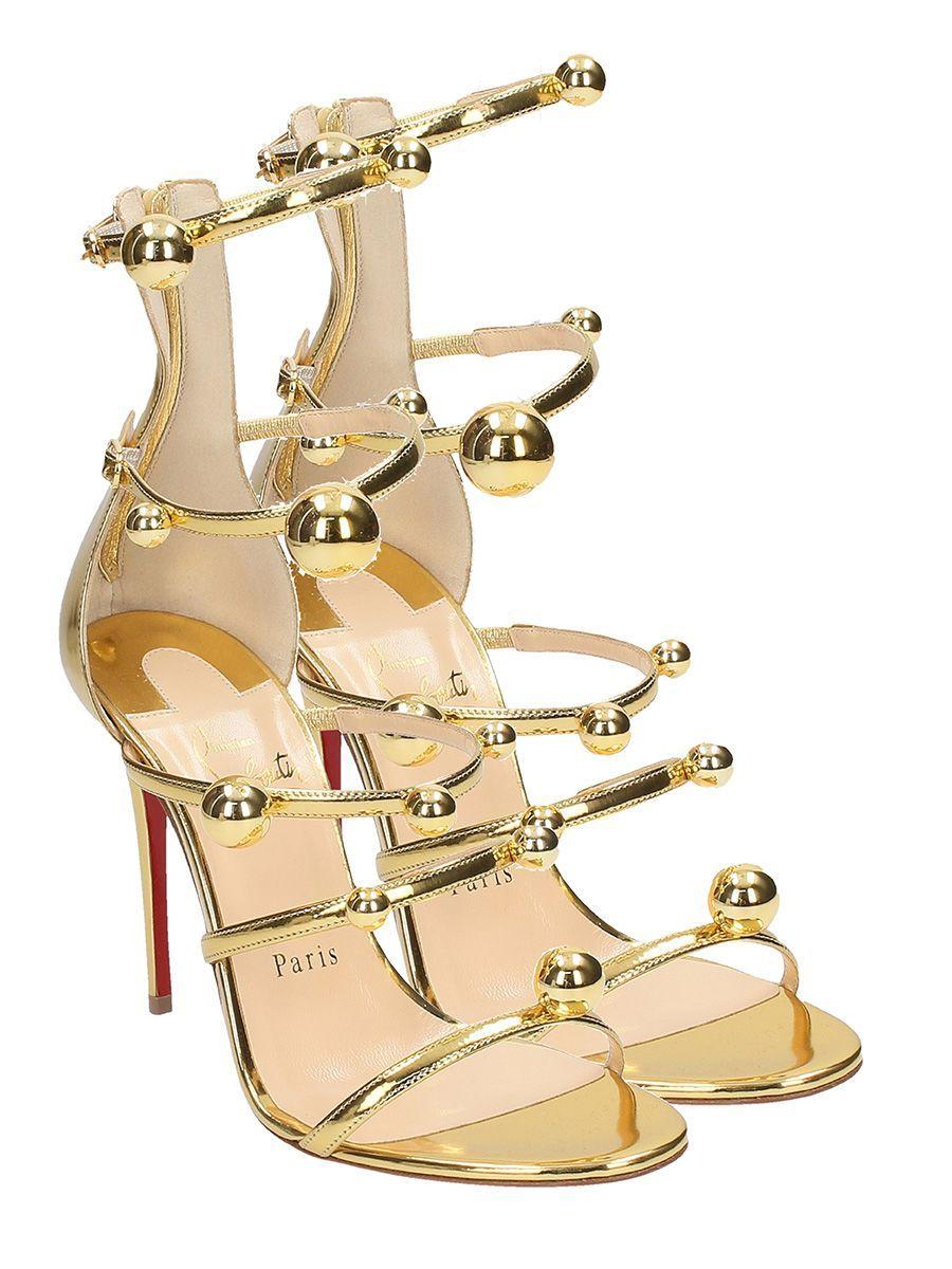 b337f1bf1b91 Christian Louboutin - Christian Louboutin Atonana Gold Specchio Leather  Sandals - gold