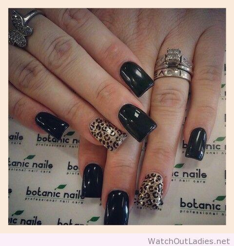 Uñas Negras Y Leopardo Uñas Nails Botanic Nails Y Leopard Nails