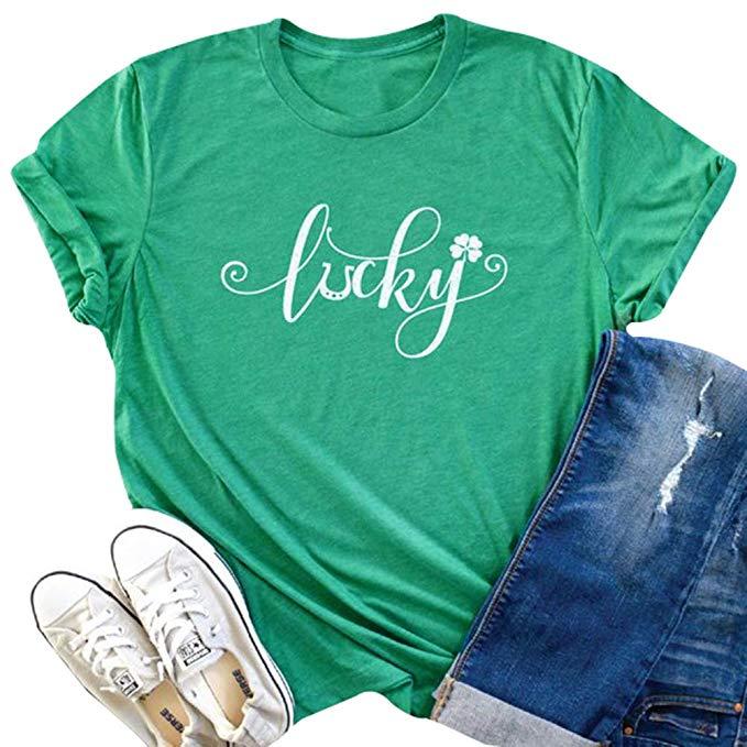 Lucky /& Lit Funny Shamrock St Patrick/'s Day Women Sweatshirt
