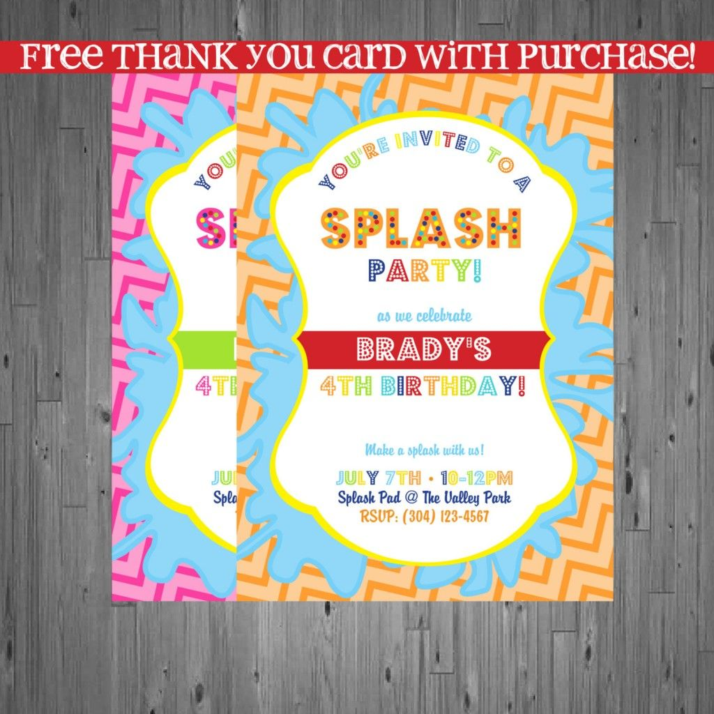 Cute Splash Party Invitation Birthday Party Ideas Pinterest - Digital birthday invitation template