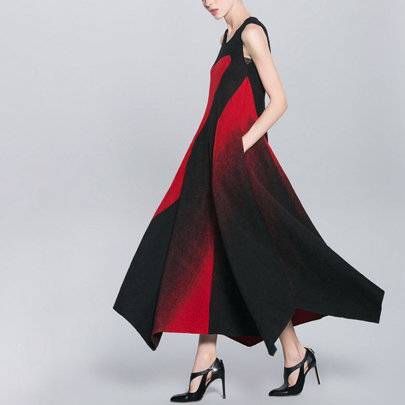Geometry Patchwork Woolen Maxi Dress