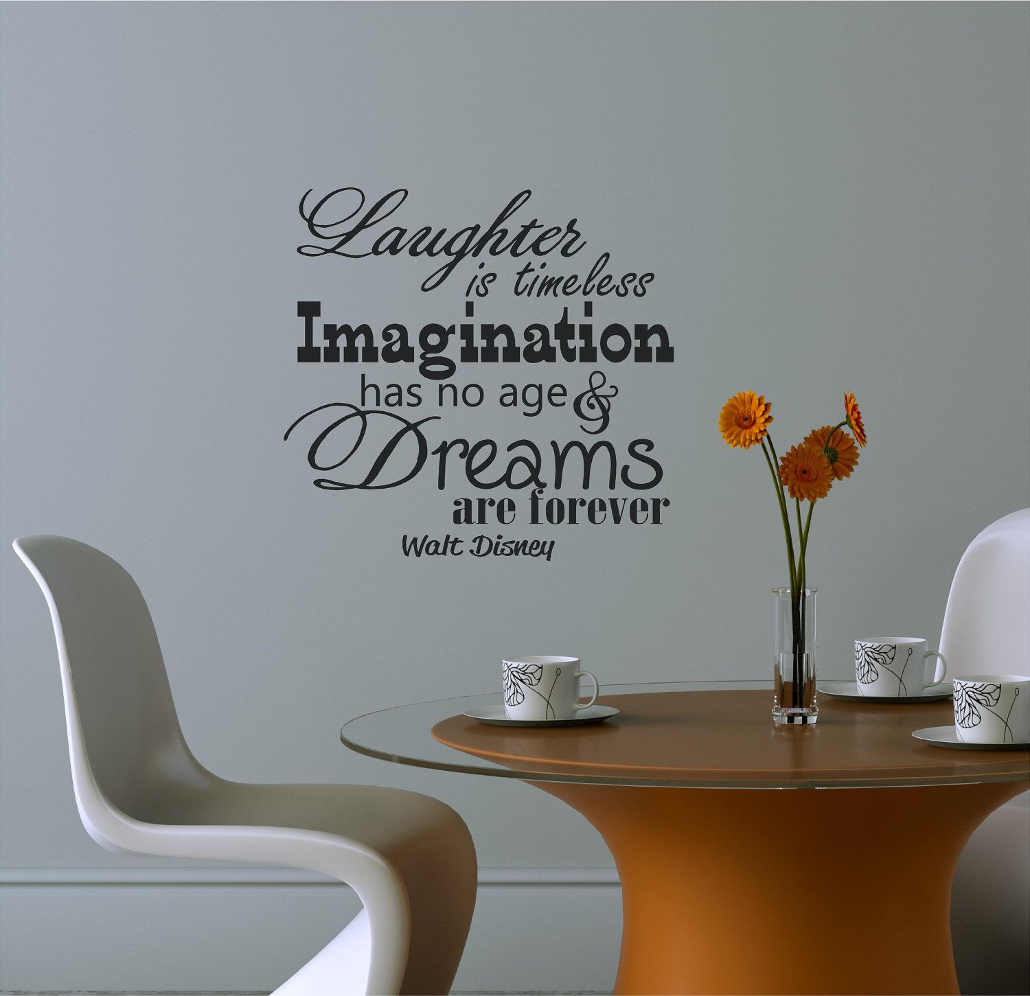 Laughter Is Timeless Imagination Walt Disney Vinyl Decor Wall - Custom vinyl lettering wall decals art sayings