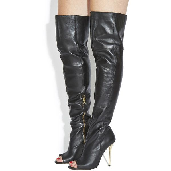 a0f87562a804 Office Everything Peeptoe Over The Knee Boots ( 56) ❤ liked on Polyvore  featuring shoes