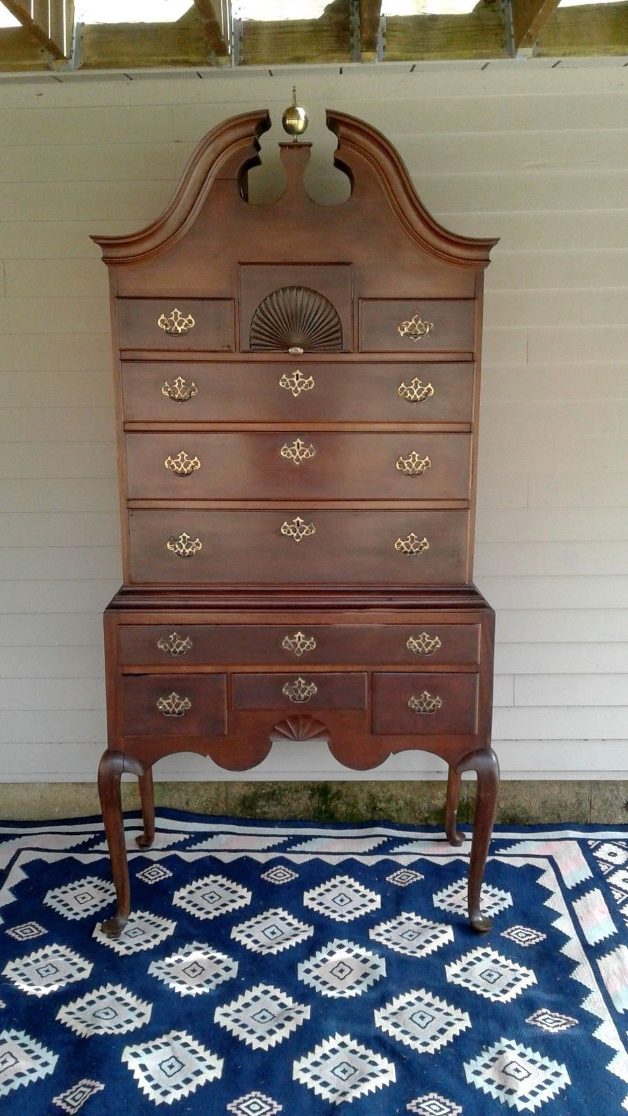 Antiques Gifts Antique 1800 S Cherry Wood Bonnet Top Large High Boy Dresser Collectors