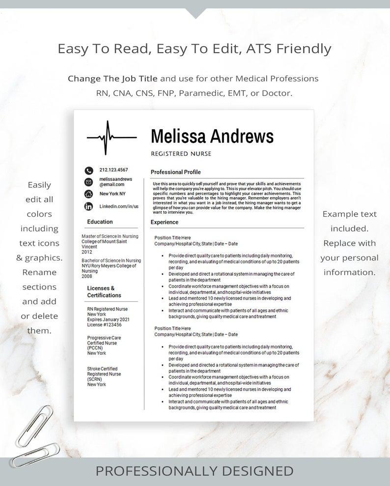 Registered Nurse Resume Template for MS Word Nursing
