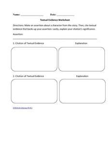Textual Evidence Worksheet Worksheet | VALUES ANALYSIS ...