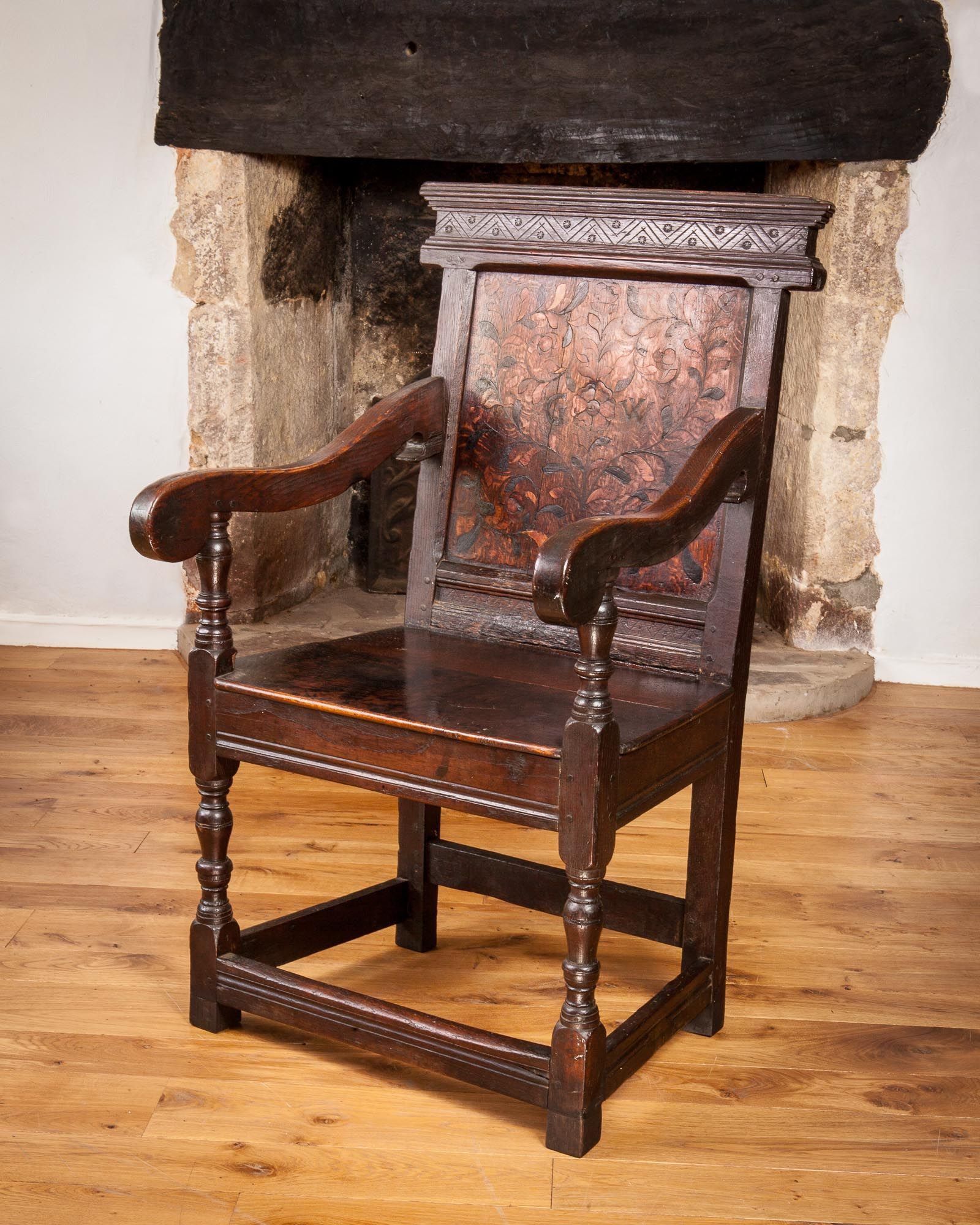 Early 17th century Leeds inlaid oak armchair, circa 1620 - 1640 ...