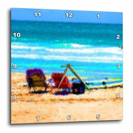 3dRose beach scene painterly chairs surfboards umbrellas sand ocean sm, Wall Clock, 10 by 10-inch