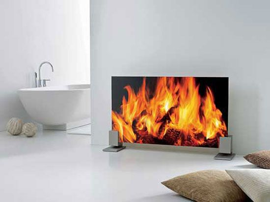 Glass Radiator That Looks Like A Warm Fire In A Fireplace