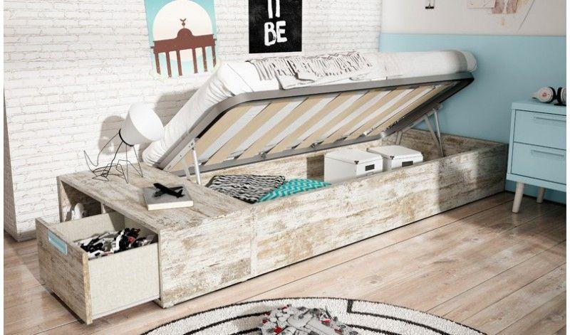 Cama Juvenil Con Canapé De Apertura Lateral Para Somier De 90 X 190 Cm En Moderno Color Vintage Cajón Con Hueco Para Canape Cama Cama Con Almacenaje Camas