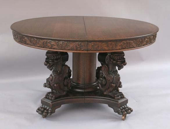 1920's oak round dining table w/griffins | antiques i love
