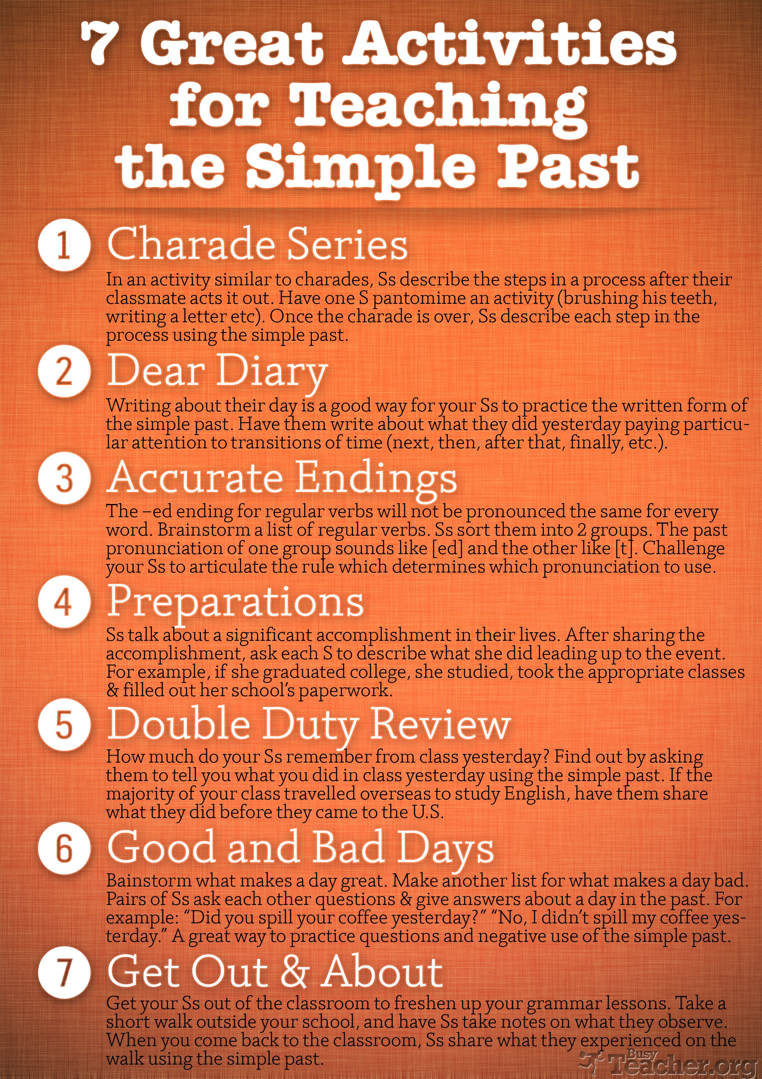 7 Great Activities To Teach The Simple Past Poster
