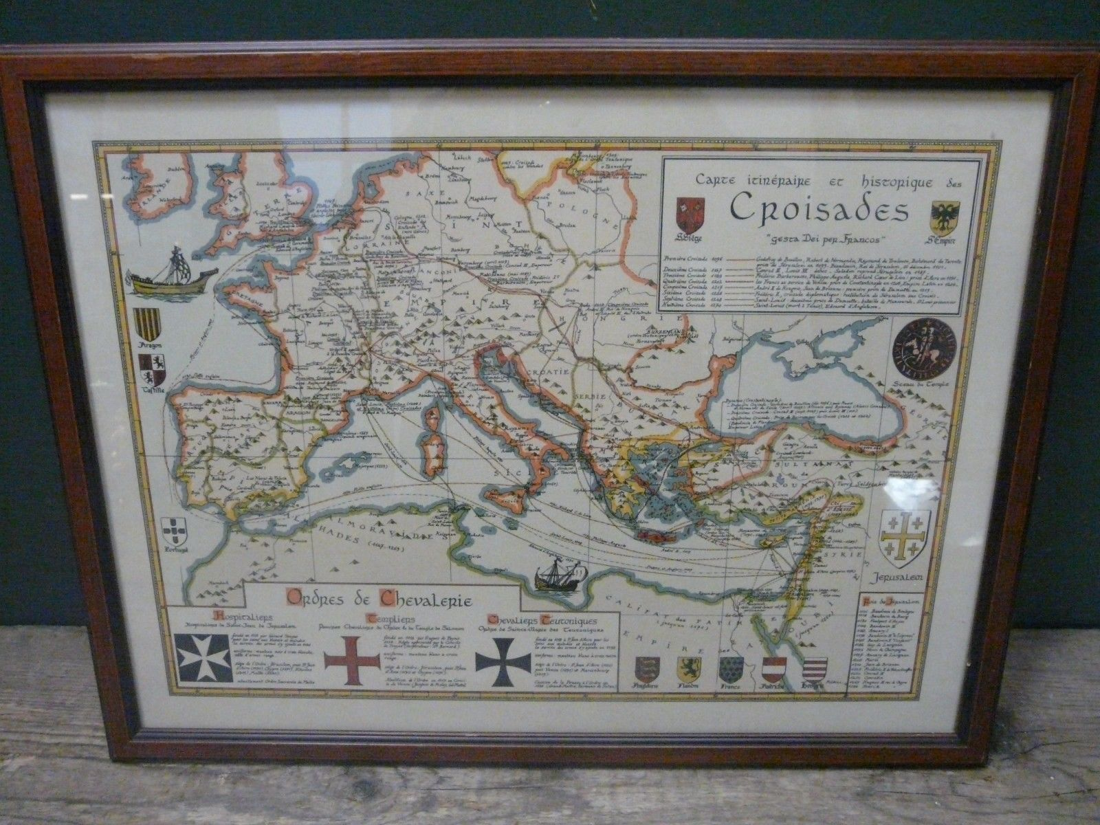 Illustrated map of the Crusades (French) high quality print in frame 44x58cm c42   eBay