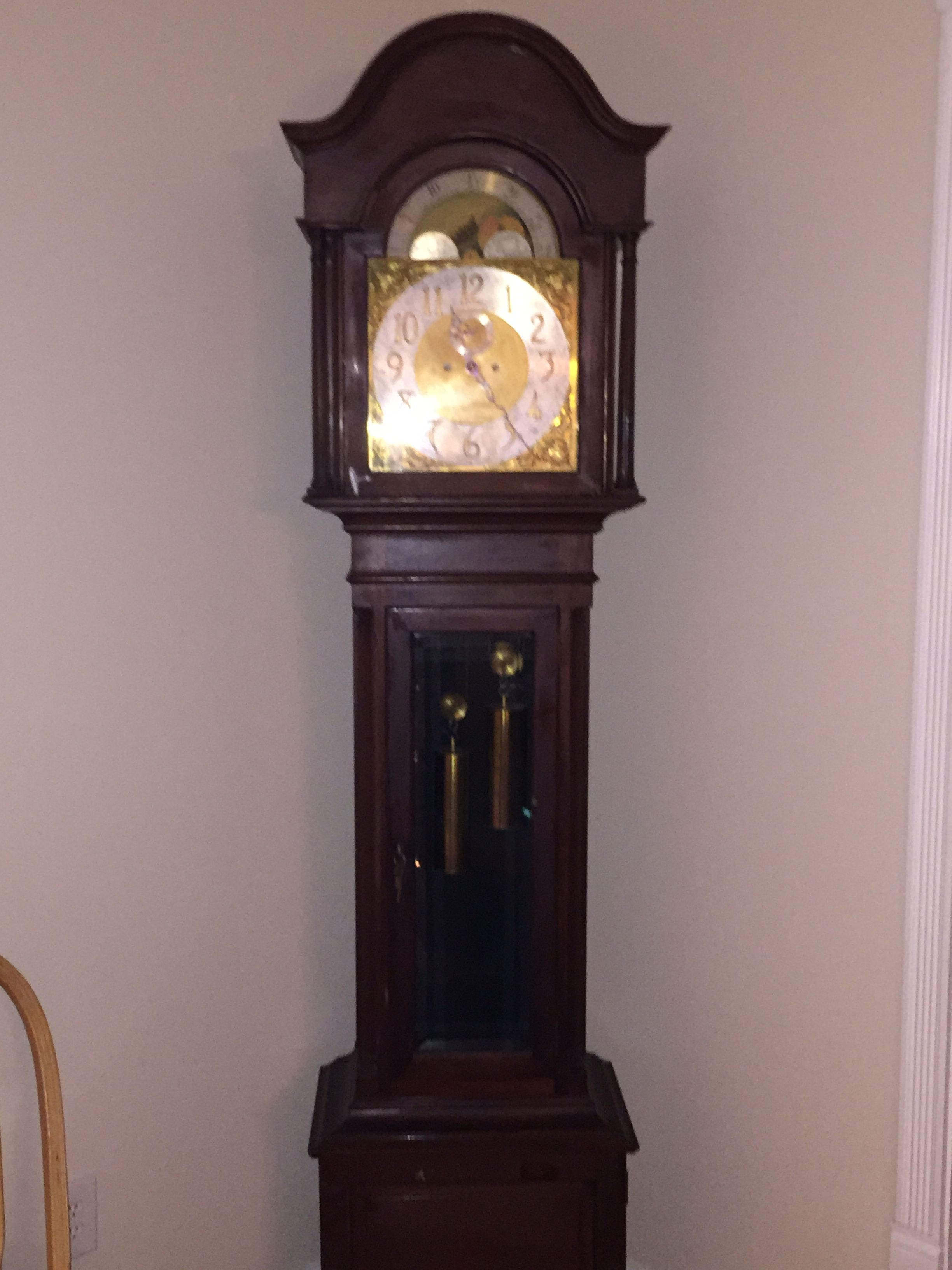 Beautiful 100 Year Old Grandfather Clock Antique Wall Clock Grandfather Clock Clock