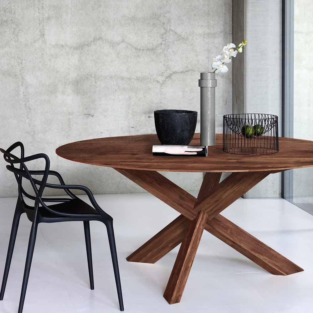 Runder Designertisch Aus Nuss Bei Milanari Com Esstisch Eiche