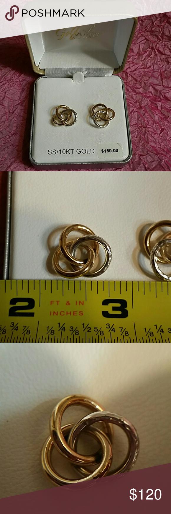 Large 10k 925 Circle Earrings Two Tone Nwt Circle Earrings Large Earrings One Ring
