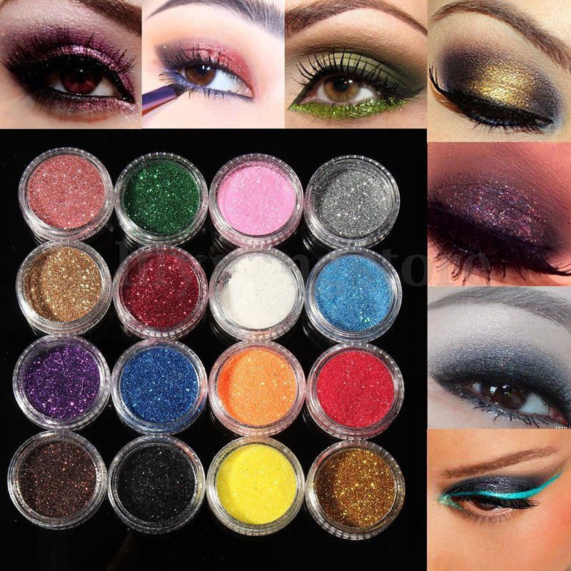 16 Mixed Color Glitter Powder Dust Eyeshadow Set For