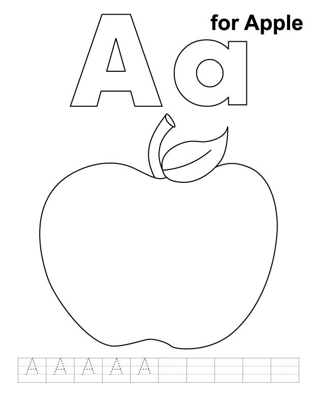 A for apple coloring page with handwriting practice