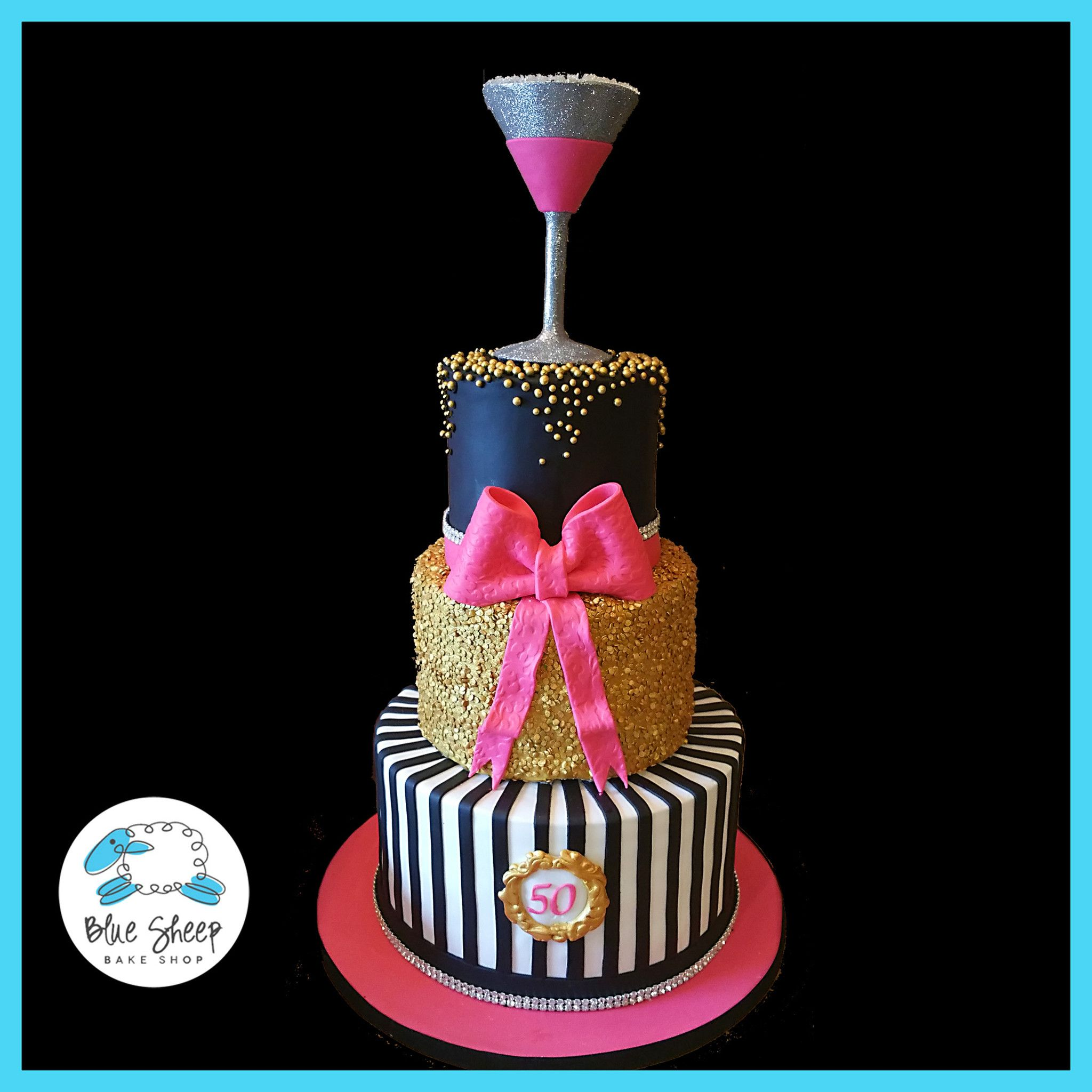 Pink Black And Gold 50th Birthday Cake 50th Birthday Cake