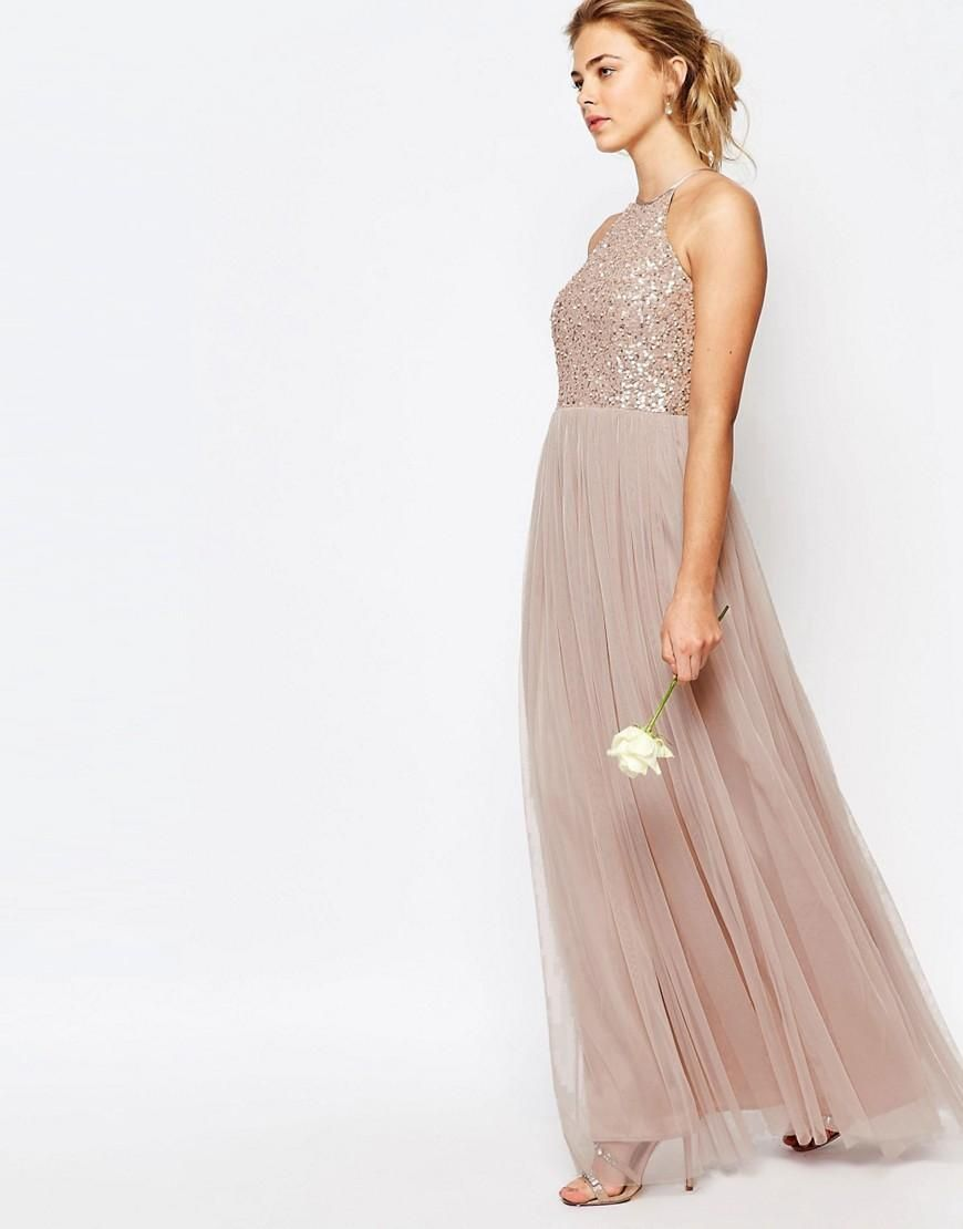 Maya  Maya High Neck Maxi Tulle Dress With Tonal Delicate Sequins