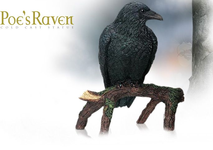 NobleWares Image of Poe's Raven on branch Statue 7586 by YTC Summit Collection