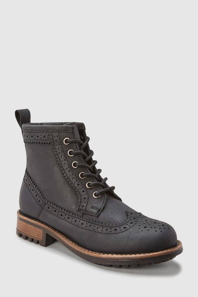 058ac109e Boys Next Black Leather Brogue Boots (Older) - Black