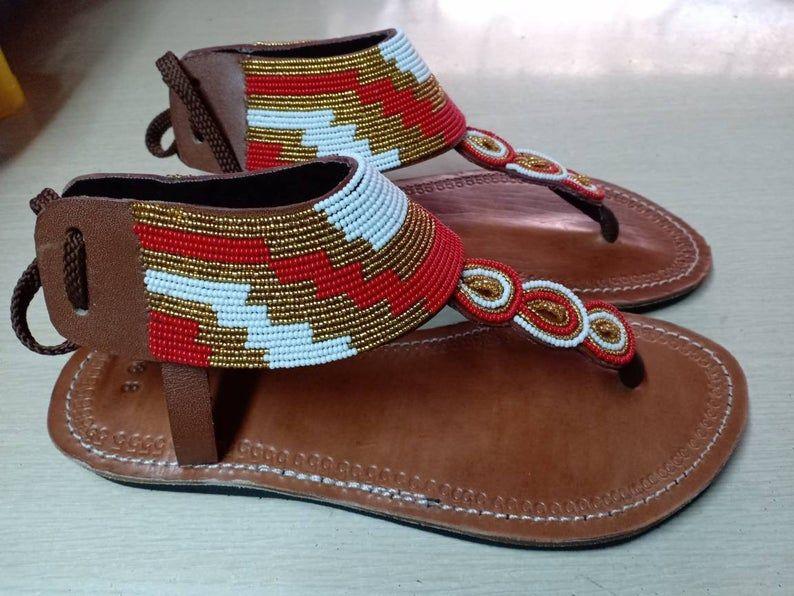 handmade sandals Kenyan sandals,gift for her summer sandals women sandals Maasai sandals outdoor sandals African beaded sandals