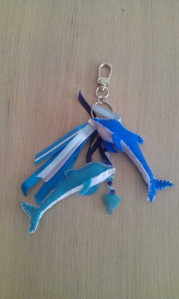 Tassenhanger : Tassenhanger dolfijn in blauw en wit tassenhangers