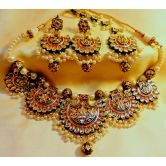Designer Meena And Kundan Gold Plated Jaipuri Necklace Set