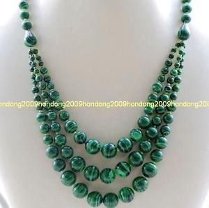 """Charming Natural 6 mm 3 Rows Aquamarine Beads Gemstone Necklace 17-19 /"""""""