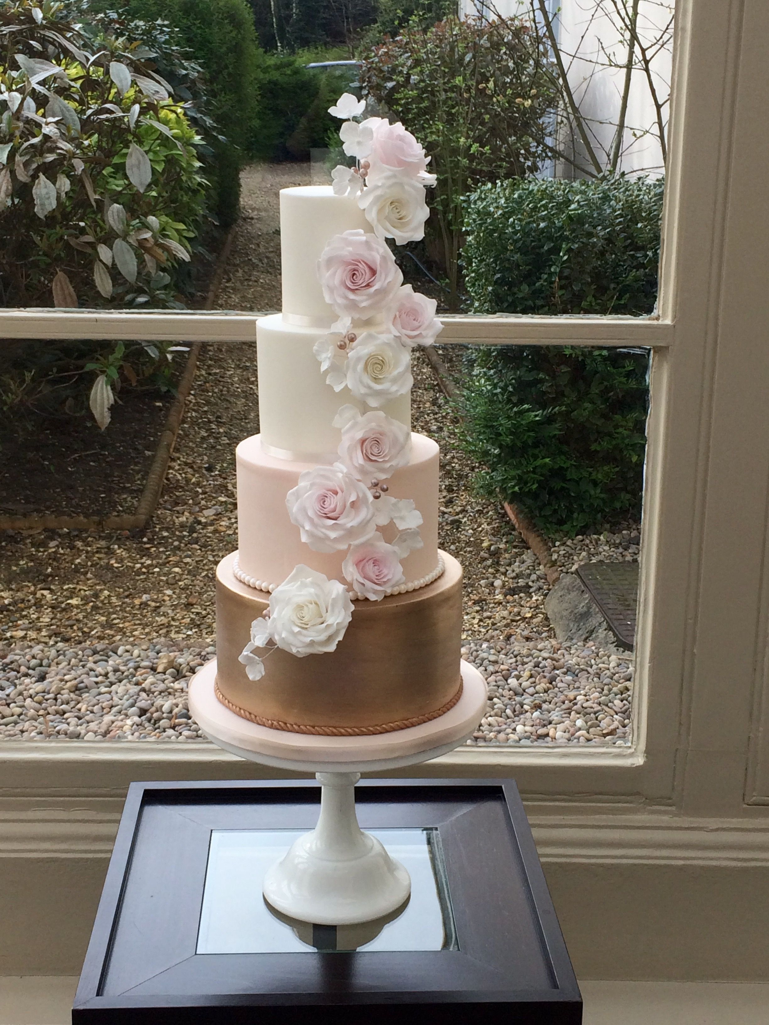 Rose Gold Blush Pink Sugar Flower Cascade Cake At Morden Hall