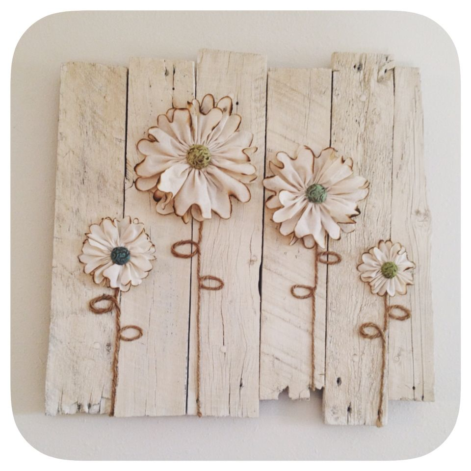 Wood Pallet Wall Art With Muslin Flowers Jute Twine And Polymer Clay Centers