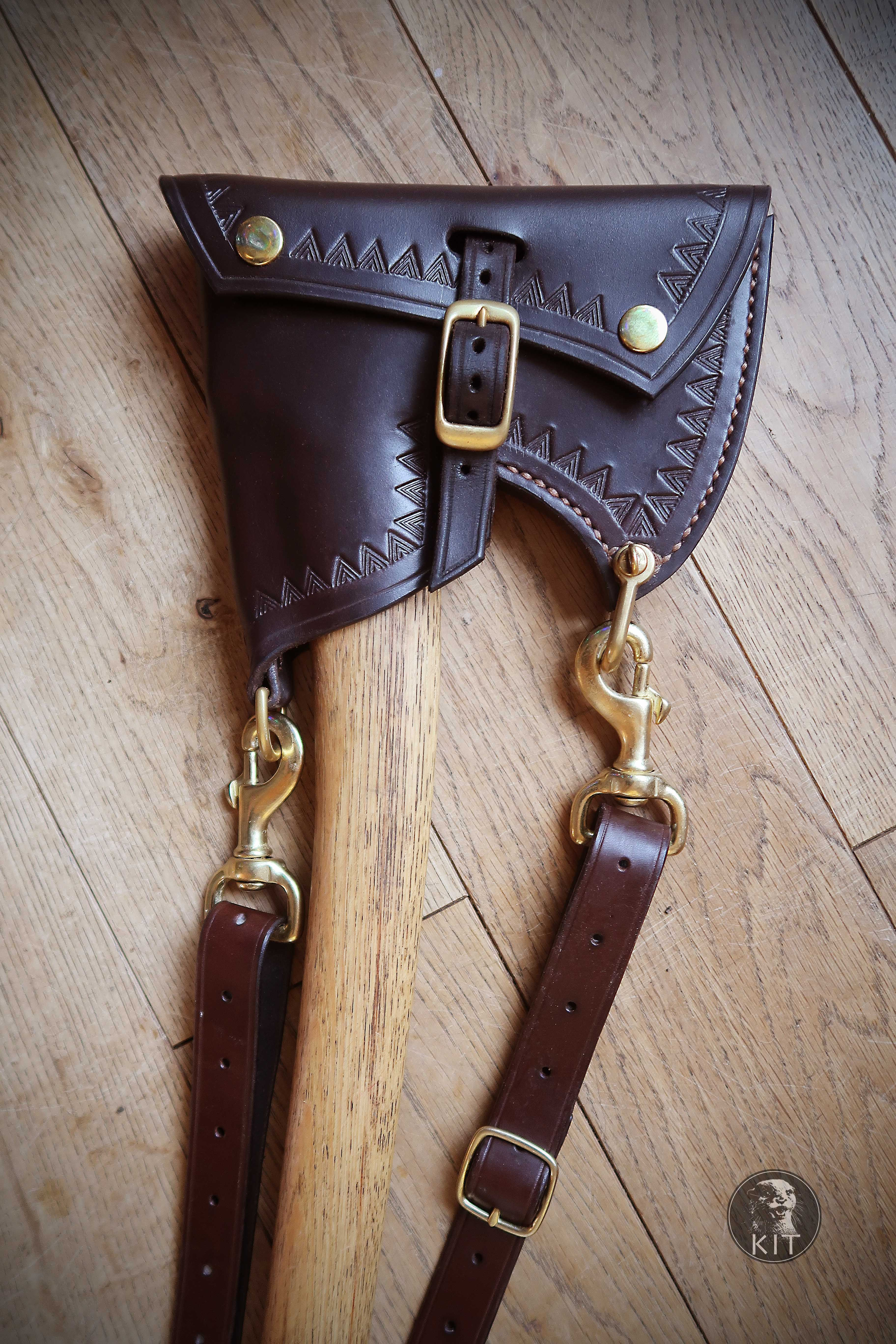 Axe Carrying Sheath For Gransfors Bruks Scandinavian Forest Axe In English Bridle Leather Designed And Made English Bridle Leather Leather Tooling Axe Sheath