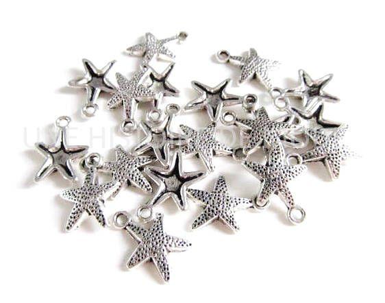 25 pendentifs breloque étoile  10 x 8 mm métal argenté création bijou