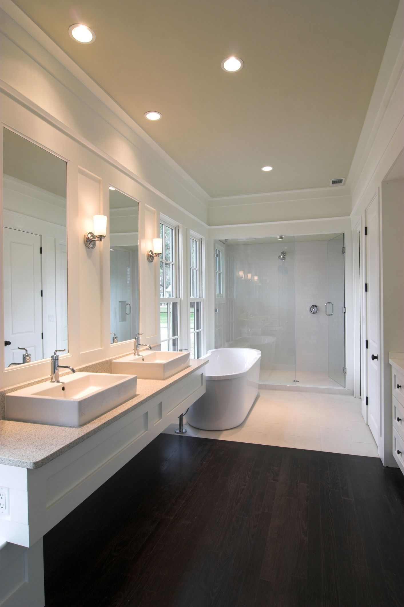 Master bedroom ensuite design  interesting merge of wooden floors and white tiles Find yours at