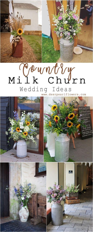 Farm wedding decor ideas   Rustic Country Wedding Ideas with Milk Churn  Floral