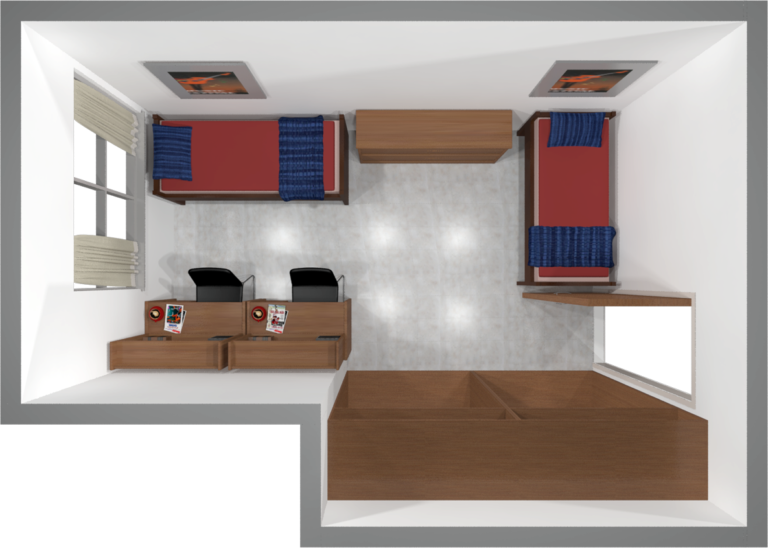 A 2d Layout View Of A Two Window Double Room In Witte Dorm Room Layouts Dorm Room Designs Dorm Layout