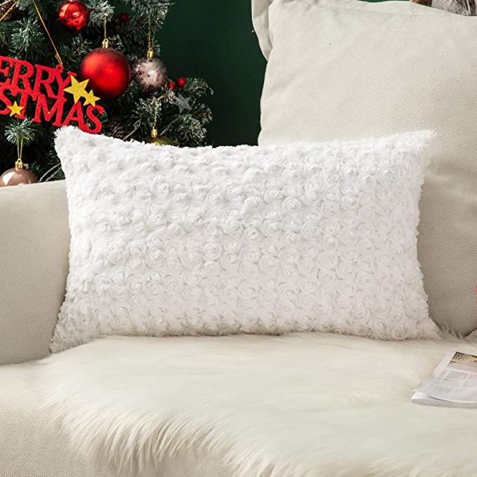 MIULEE Decorative Throw Pillow Covers Luxury Faux Fuzzy Fur Super Soft Cushion Pillow Case Decor White Cases for Couch Sofa Bedroom Christmas Decoration 12 x 20 Inch 30 x 50 cm