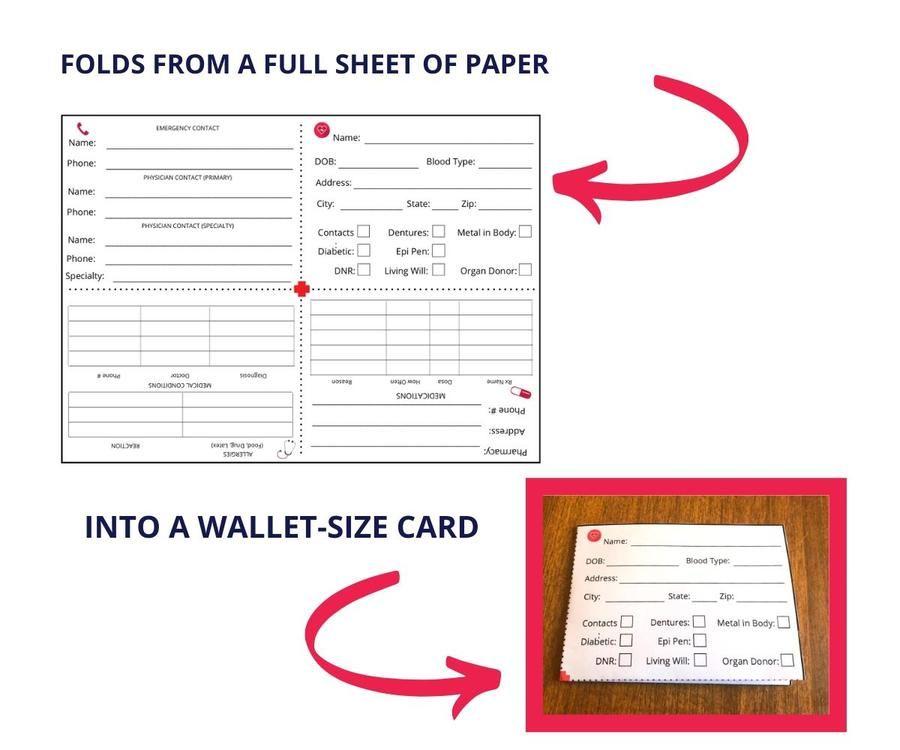 Emergency Medical Information Card (Editable PDF