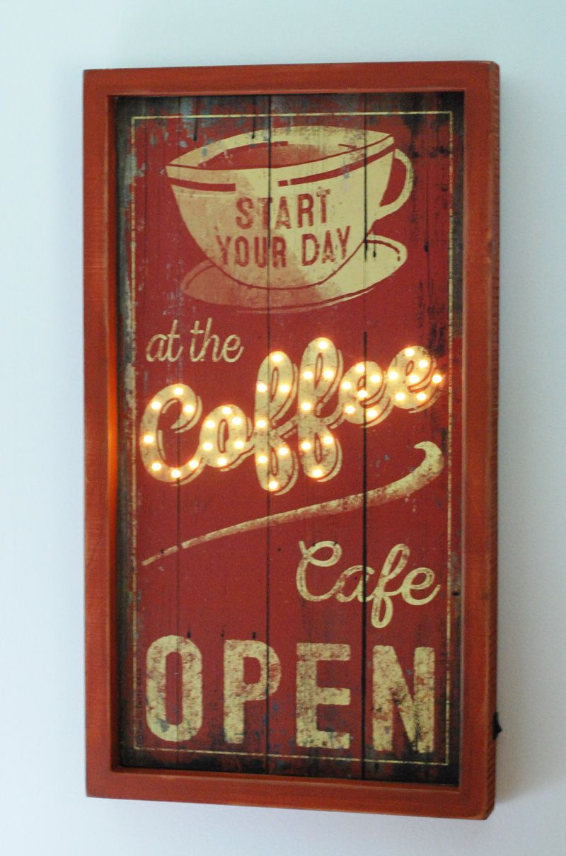Lighted Box Sign, Coffee Cafe | American Farmhouse Style | Pinterest