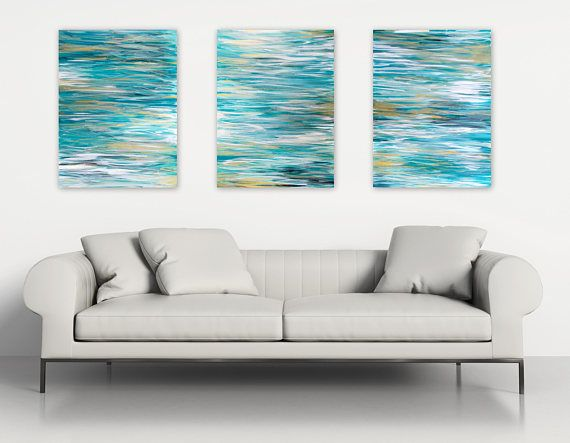 Charming SALE Ocean Triptych Wall Art, Original Abstract Paintings Set Of 3    Contemporary Coastal Home Decor, Beach House Decor, Extra Large Artwork