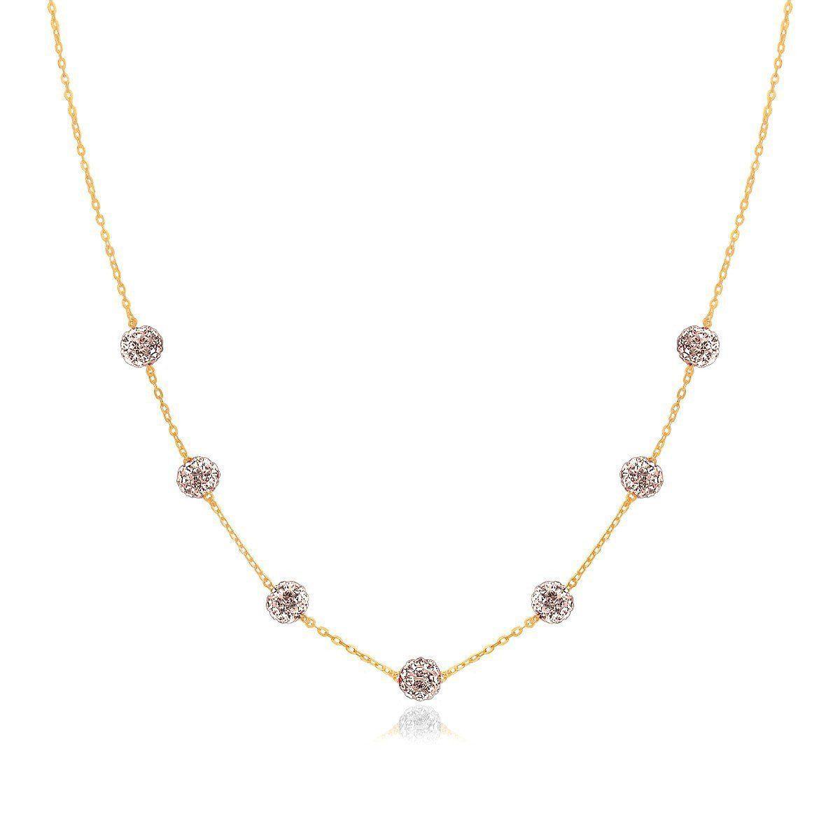 K gold necklace with crystal embellished sphere stations