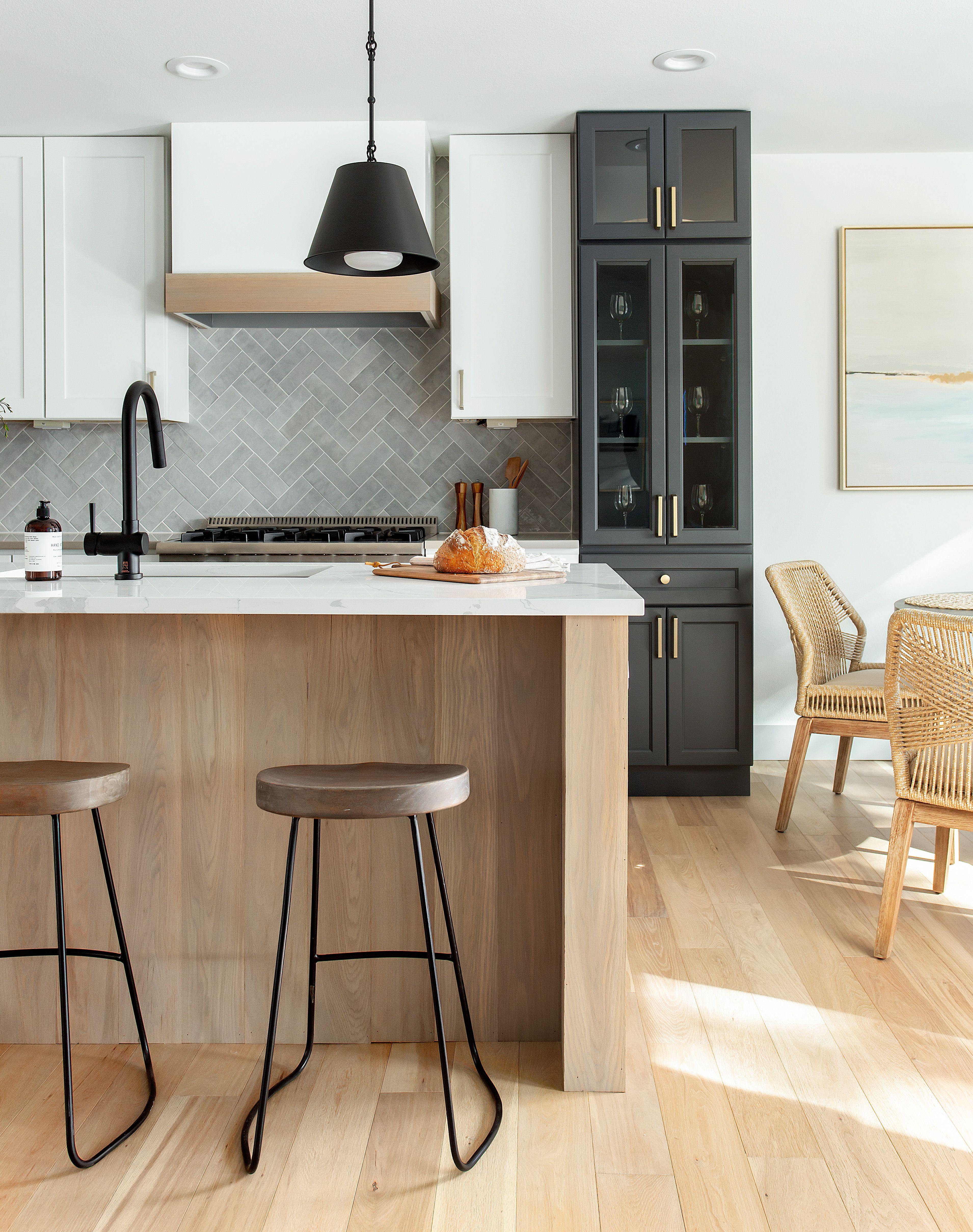 Coastal contemporary finishes and furniture designed by