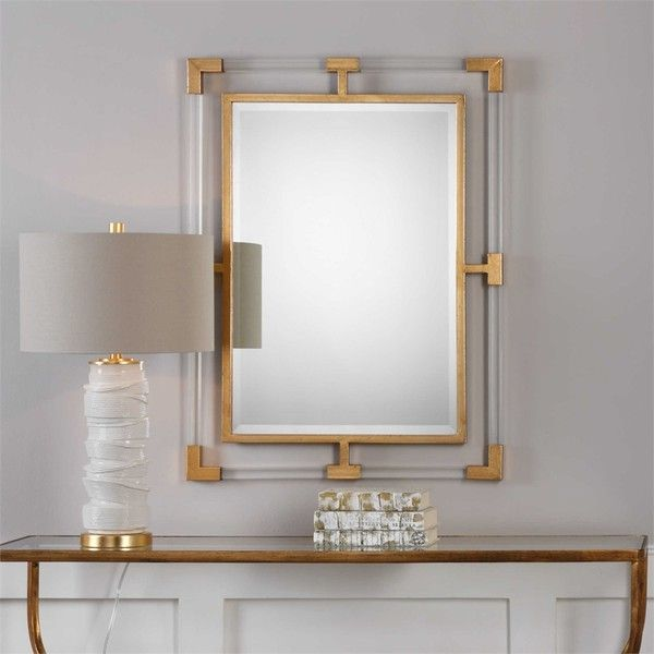 uttermost balkan modern gold wall mirror liked on polyvore featuring home home decor - Home Decor Mirrors