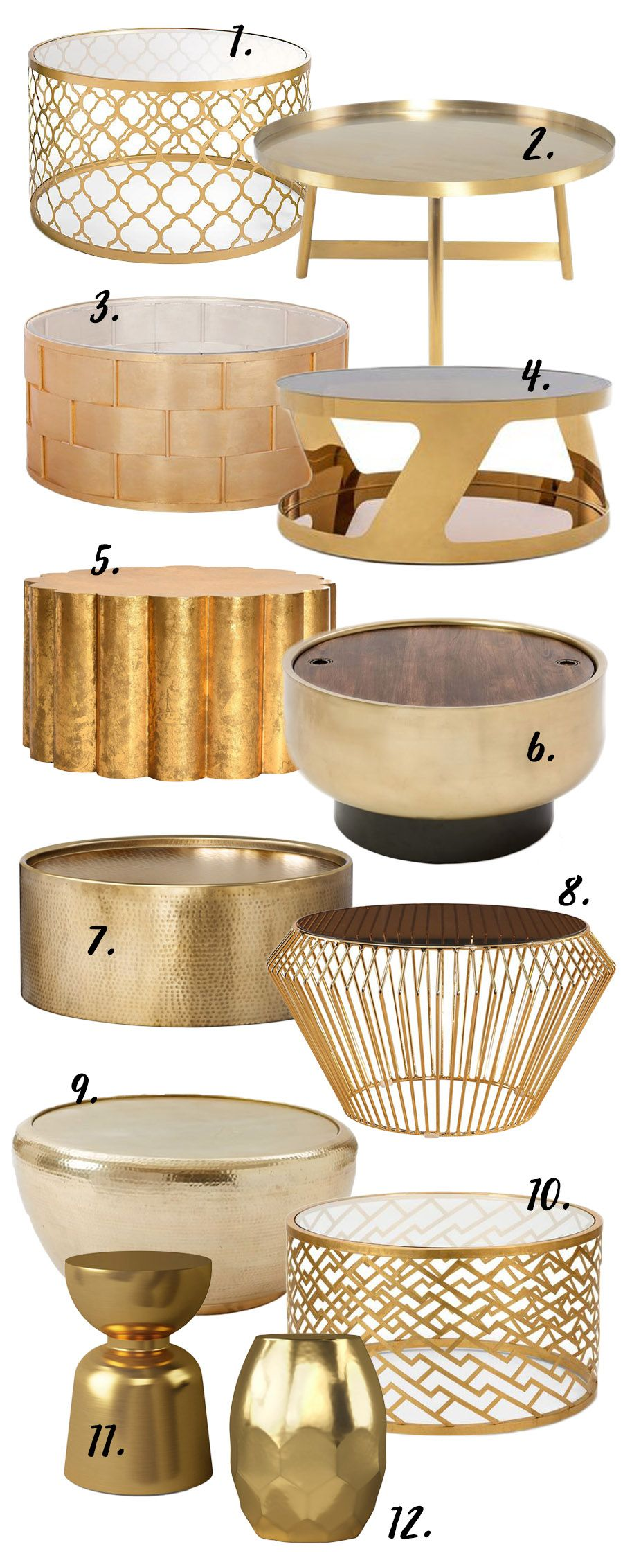 The Gold Round Coffee Table 12 Stylish Options Round Gold Coffee Table Round Coffee Table Decor Living Room Coffee Table